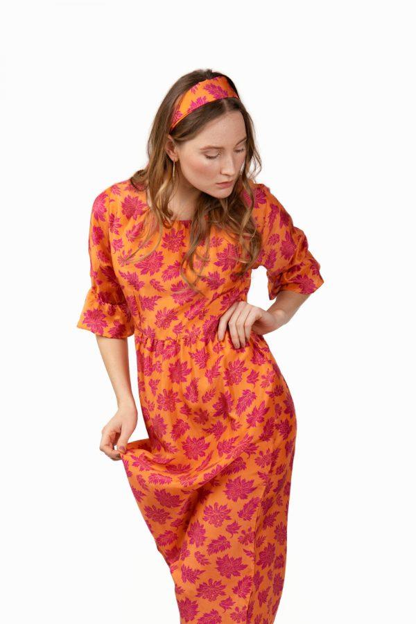 orange print midi silk dress