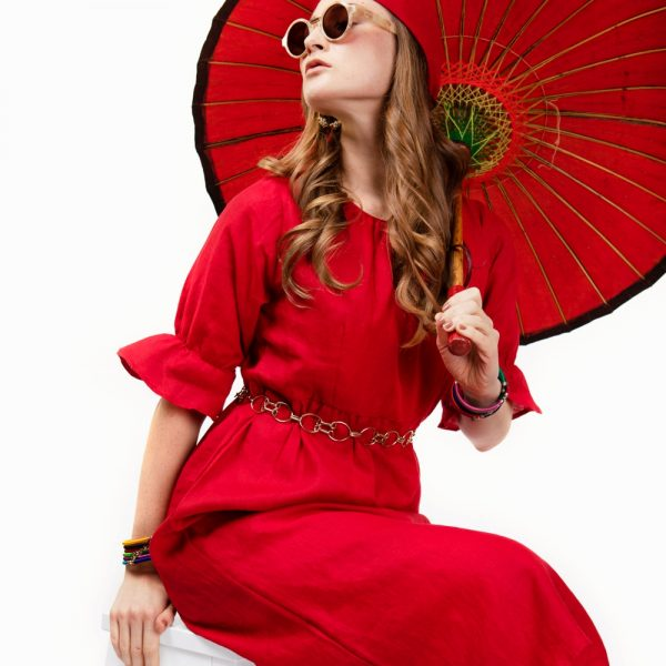 Red midi linen dress with flared sleeves