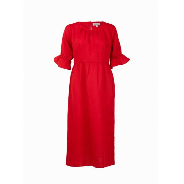 Red linen dress with flared sleeves