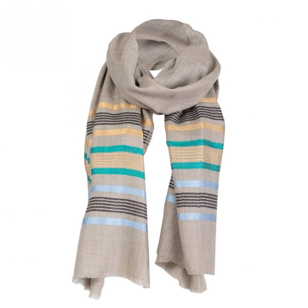 Beige cashmere scarf with stripes by Asneh-min