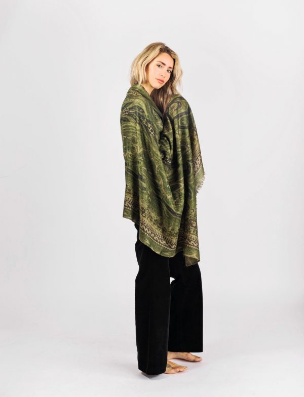 Green large cashmere shawl