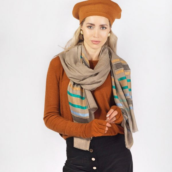 beige striped cashmere scarf rust brown cashmere sweater rust brown beret-min