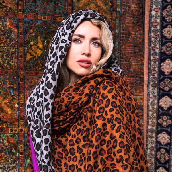 Leopard print cashmere scarf