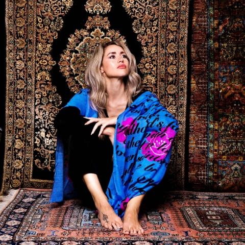 Blue print scarf cashmere