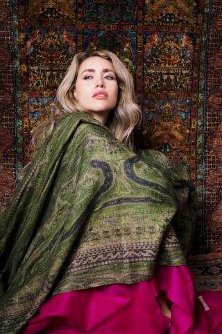 Green Fuchsia Cashmere shawls Asneh