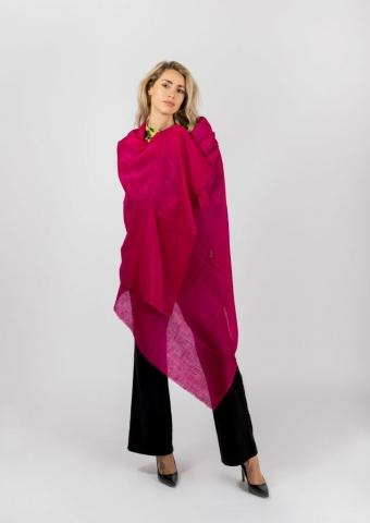 Large fuchsia pink cashmere