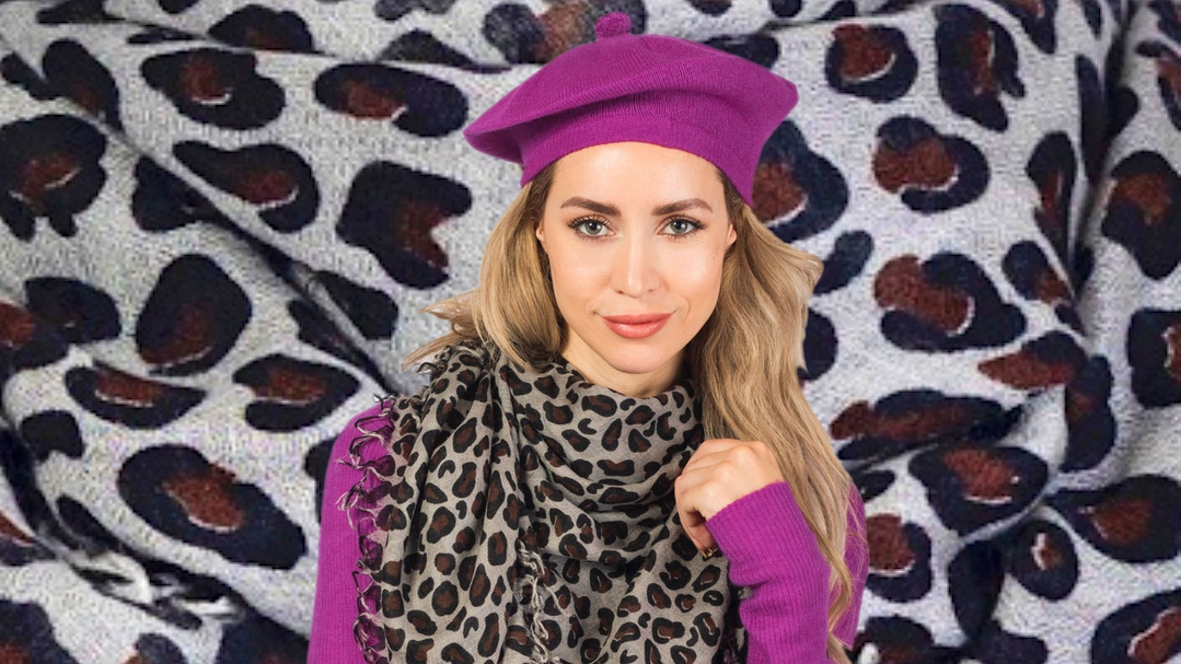 large leopard print cashmere scarf grey