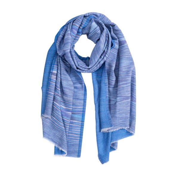 Blue double weave cashmere scarf