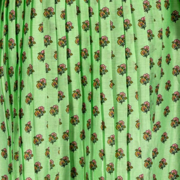 Green floral print cotton blend dress