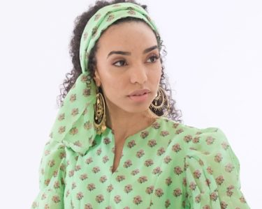 green print midi dress wit puff sleeves by Asneh
