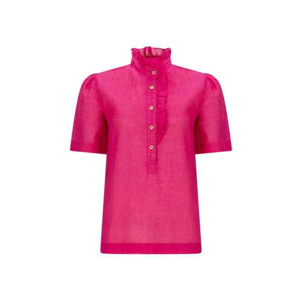 Fuchsia pink frill front puff shoulder cotton blouse