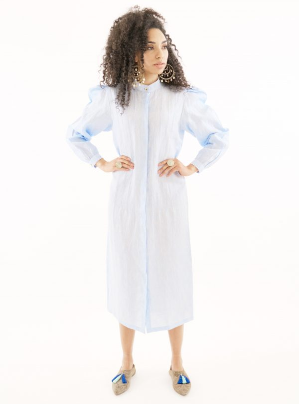 Blue linen puff sleeve shirt dress