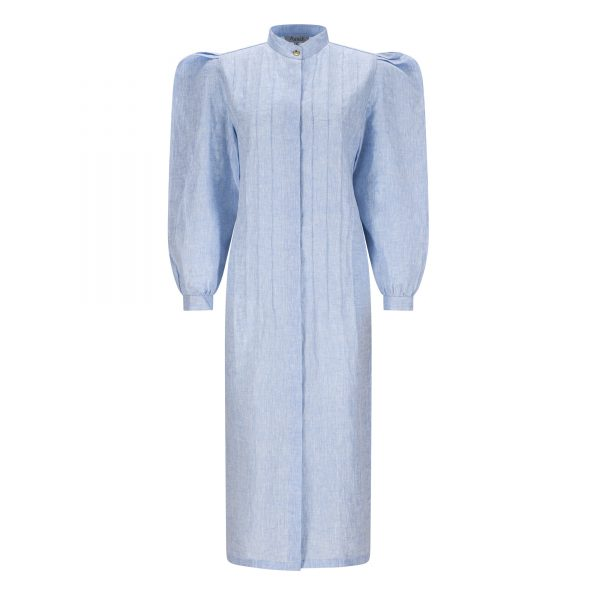 Blue linen shirt dress