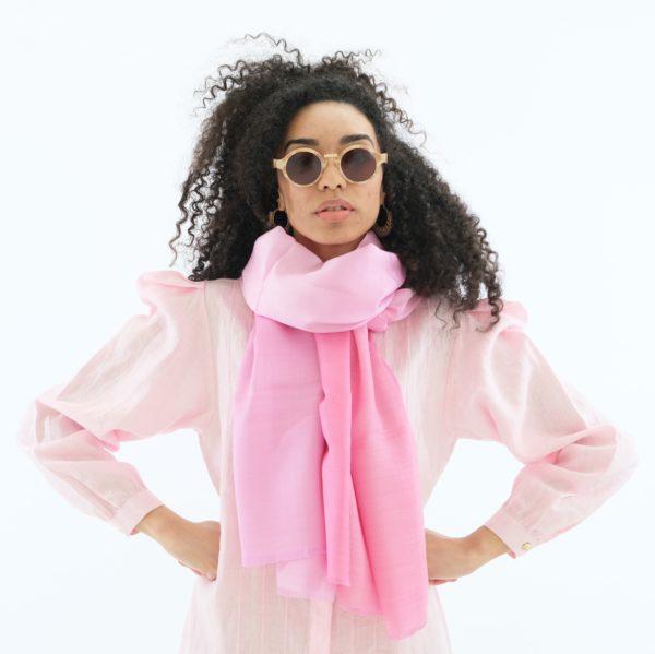 ombre pink dip dye wool silk scarf and midi linen shirt dress Asneh