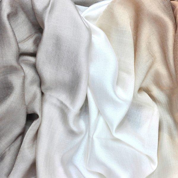Beige dip dye silk wool scarf by Asneh