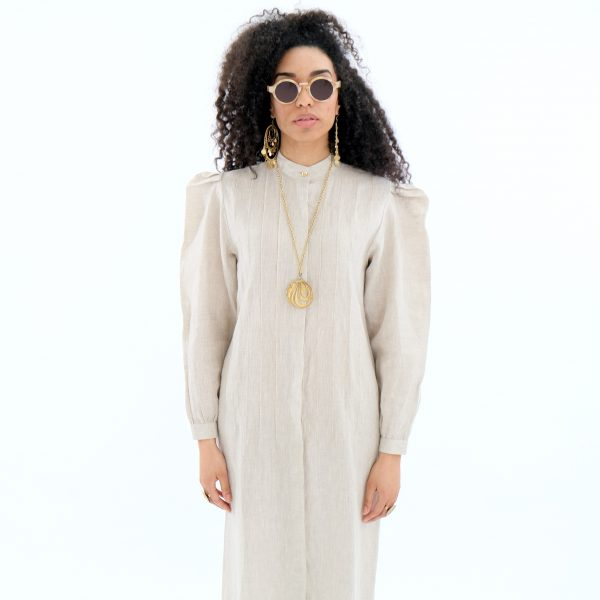 Natural beige linen shirt dress