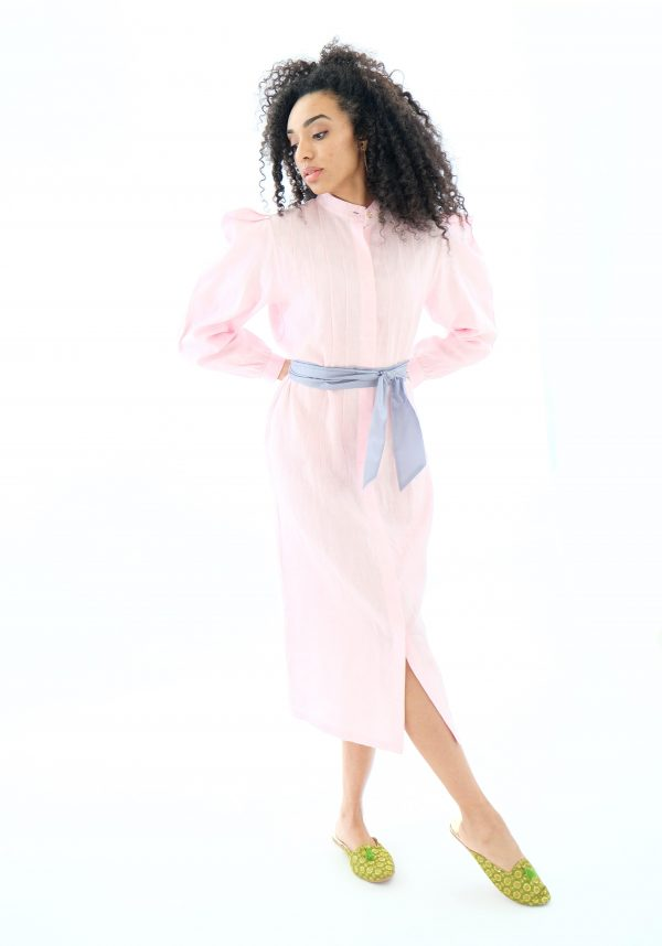 Pink midi shirt linen dress