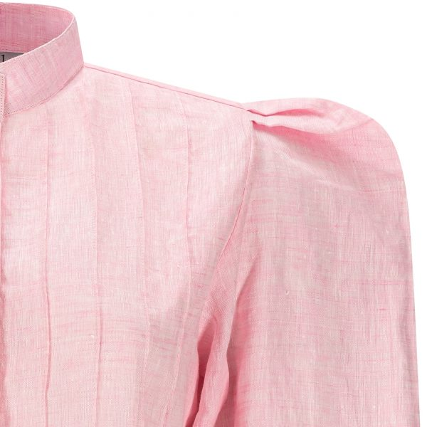 Pink Rose linen shirt dress with puff shoulders by Asneh