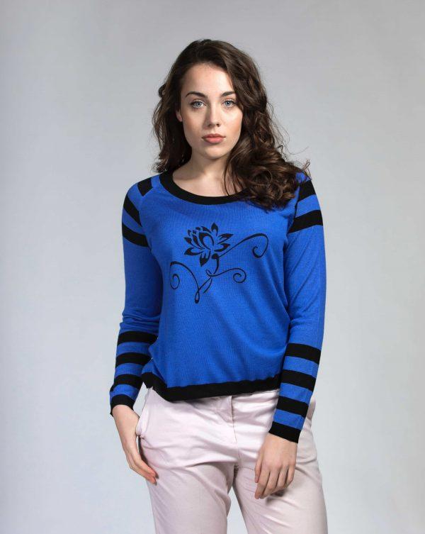 Blue black silk cashmere jumper
