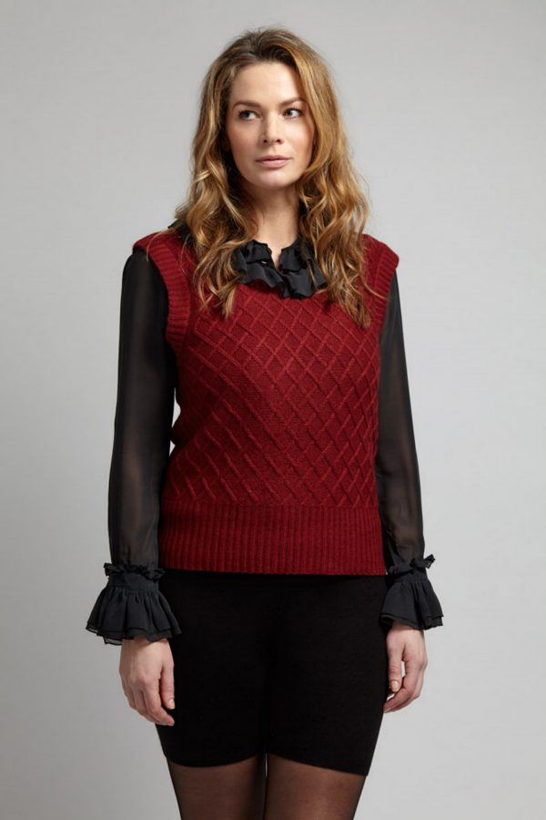 Sleeveless vest cashmere silk Cabernet by Asneh