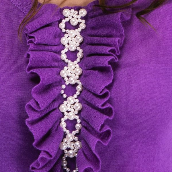 Purple cashmere jumper with frill front and faux pearl embellishment