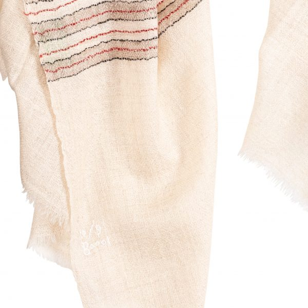 Hand woven Cream Coloured Cashmere Pashmina Scarf with Red, Black and Beige Stripes