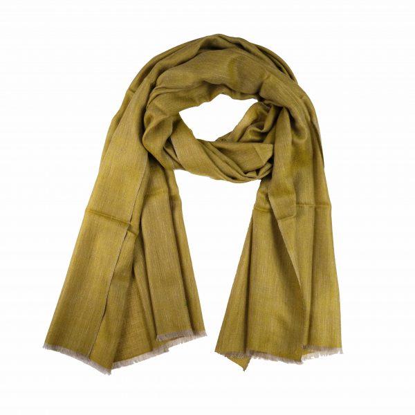 mustard green cashmere scarf